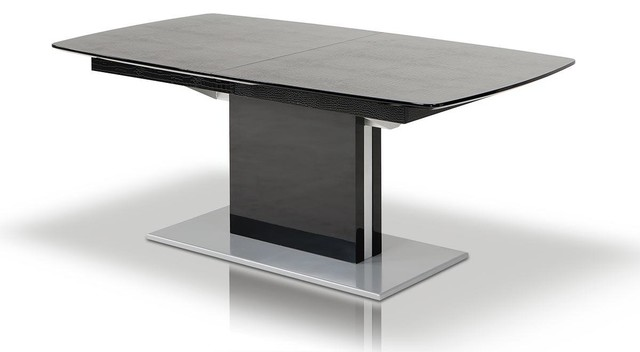 Black Lacquer Extendable Dining Table With Crocodile Texture Dining