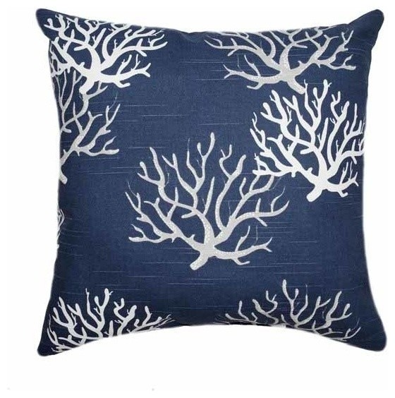 Blue Coral Throw Pillow : Isadella, Navy Blue Coral Throw Pillow beach-style-decorative-pillows