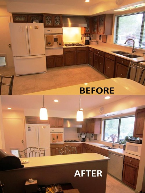 Before and After Photos of A Kitchen Cabinet Refacing Project