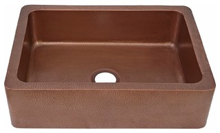 Sinkology Courbet Farmhouse Kitchen Sink, Antique Copper