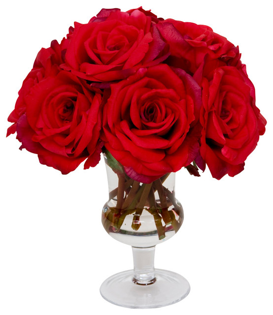 Red Pav 233 Roses Traditional Artificial Flower