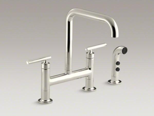 Kohler Purist R Two Hole Deck Mount Bridge Bridge Kitchen Sink Faucet With 8 3 Contemporary