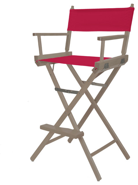 Rustic Grey Heritage Director Chair Bar Height Red Cover