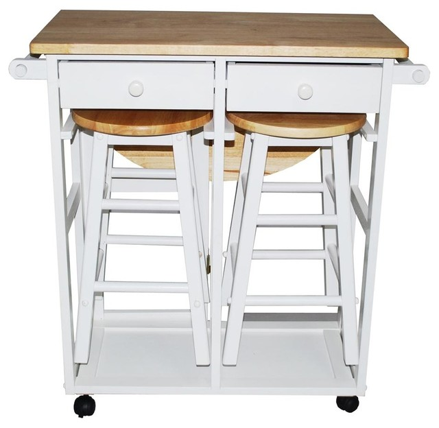Kitchen Island Table Houzz: Breakfast Cart With Table And 2 Stools, White