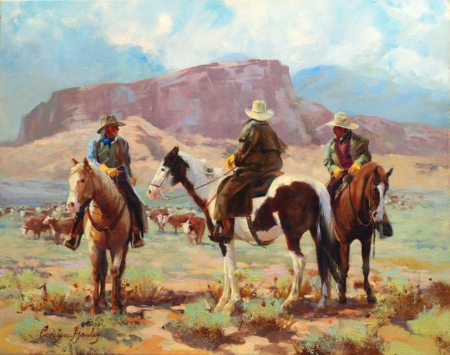 Three cowboys wall mural contemporary wallpaper for Cowboy wall mural