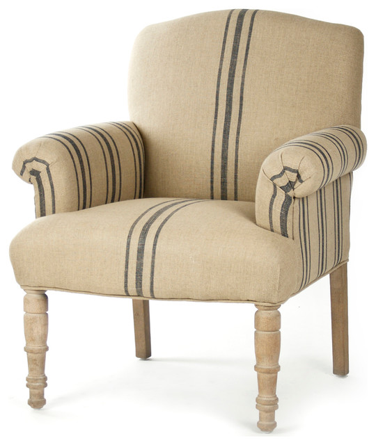 Rama French Country Blue Stripe Linen Club Chair  : traditional armchairs and accent chairs from www.houzz.com size 540 x 640 jpeg 72kB