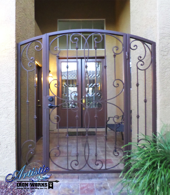 Fouet Wrought Iron Courtyard Entry Gate Traditional