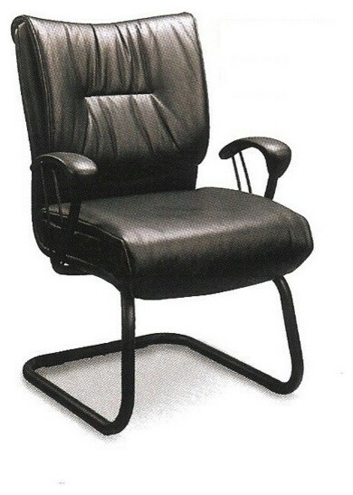 sleek contemporary guest chair black metal and vinyl