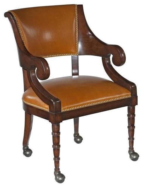 New Dining Arm Chair Caramel Leather Traditional