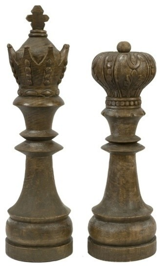 Windham handcarved wood chess pieces set of 2 traditional decorative accents by uber bazaar - Ornamental chess sets ...