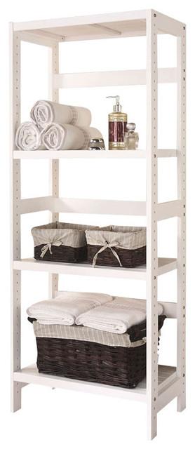 3 Shelf Wooden Bathroom Towel Storage Rack Stand Organizer Unit White Contemporary Bathroom