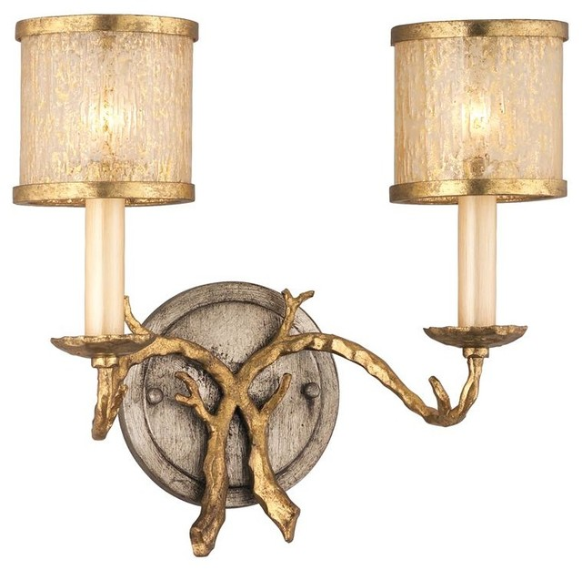 Vanity Lights Rustic : Two Light Gold And Silver Leaf Vanity - Rustic - Bathroom Vanity Lighting - by We Got Lites