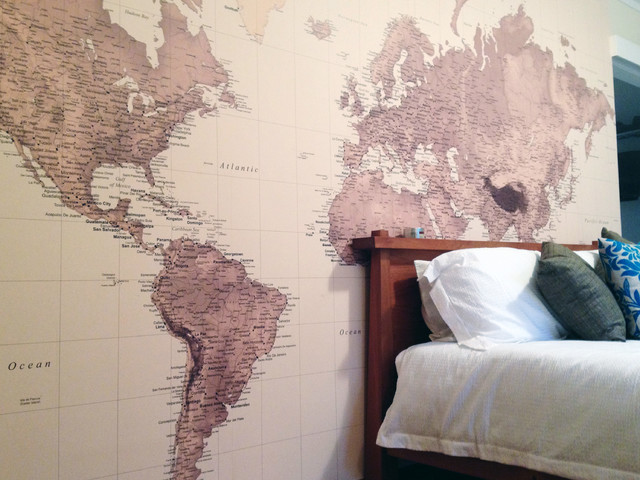 World Map Wallpaper In The Bedroom