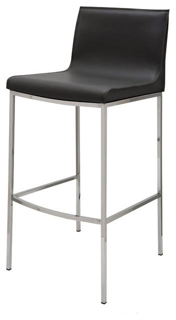 Colter Black Leather Bar Stool By Nuevo Hgar303 Modern