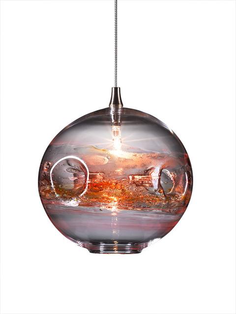 Fishbowl Glass Pendant Light Red Multi Contemporary