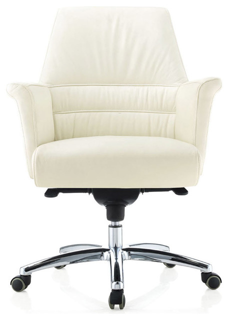 geffen leather aluminum base chair white contemporary