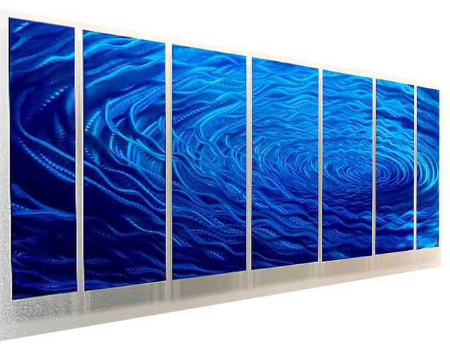 Blue Water Inspired Multi Panel Metal Wall Art Cobalt