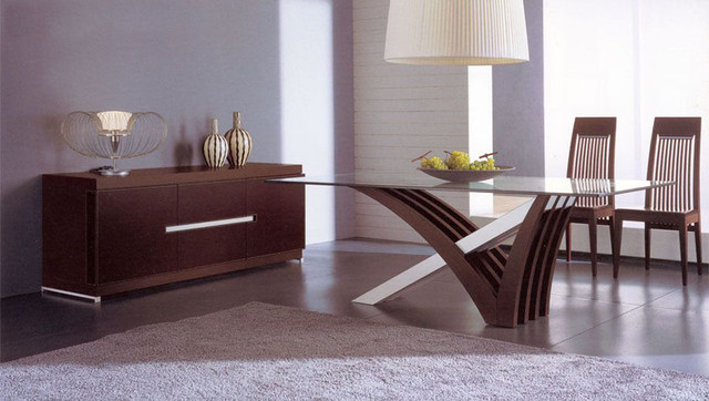 Luxury In Wood And Clear Glass Top Leather Italian Dining