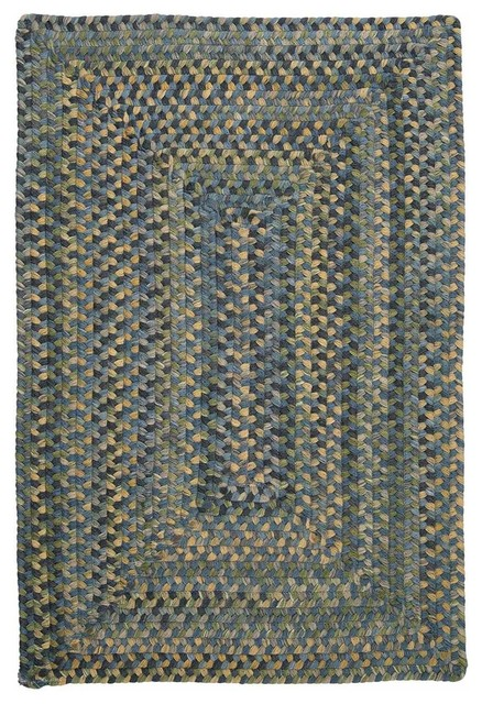 Braided Whipple Blue Wool Rug 12 Square Ridgevale RV50 Farmhouse A