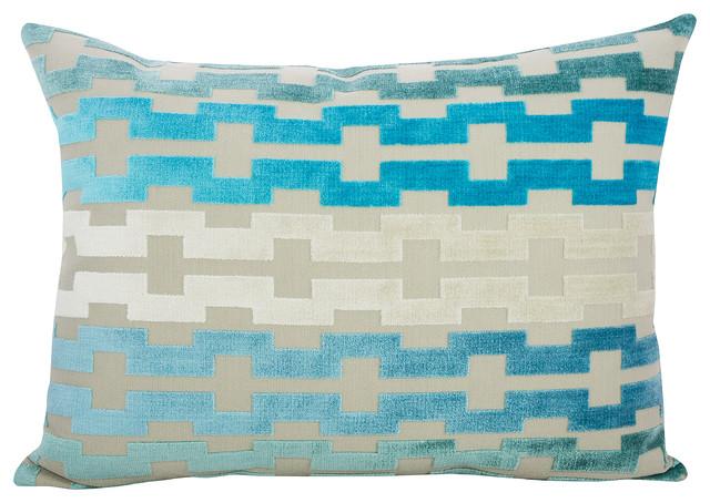 Blue Lumbar Throw Pillow : June Sky Velvet Lumbar Pillow, Blue - Contemporary - Decorative Pillows - by TheWatsonShop