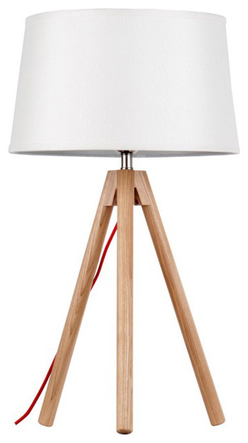 Tripod base wood table lamp with large white shade for Tripod floor lamp silver base white shade
