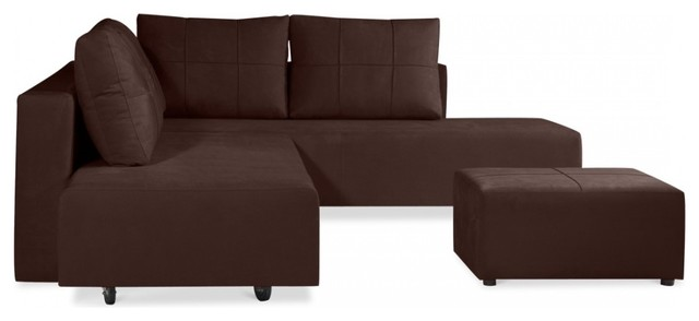 ecksofa jefferson iii mit ottomane braun links modern. Black Bedroom Furniture Sets. Home Design Ideas