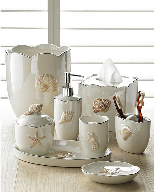 Marie shells in pearl bath accessories sets coastal style for Cream bathroom accessories set