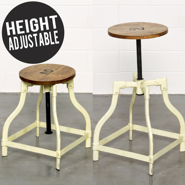 BARNARD INDUSTRIAL STOOL YELLOW ADJUSTABLE HEIGHT  : industrial from www.houzz.com size 640 x 640 jpeg 92kB