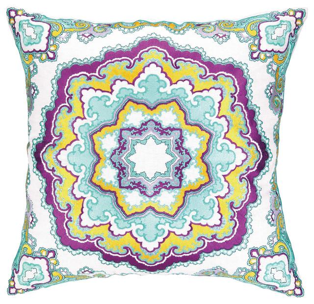 Modern Embroidered Pillow : Nanette Lepore Villa Paisley Medallion Teal Embroidered Pillow - Modern - Decorative Pillows