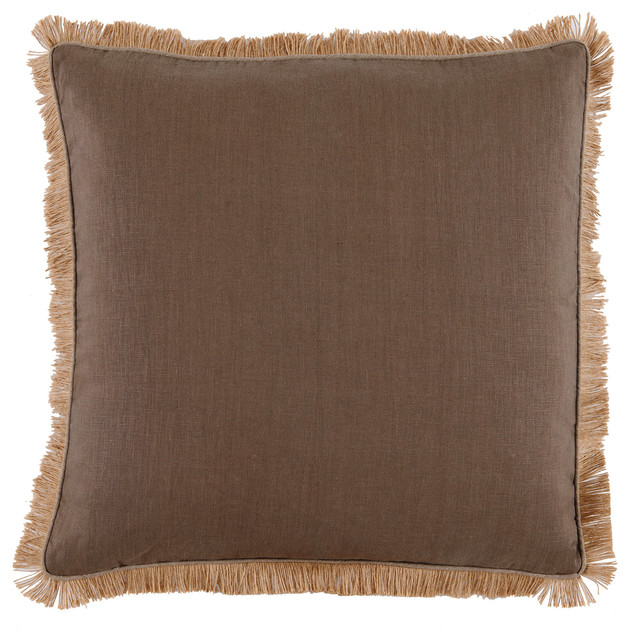 Decorative Pillows With Fringe : Linen Square Pillow With Jute Fringe, Mud - Transitional - Decorative Pillows - by Lacefield