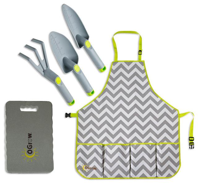 Ogrowcomplete gardening kit 3 piece tool set apron and for Gardening tools kit set