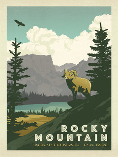 Rocky Mountain National Park Gallery Print Midcentury