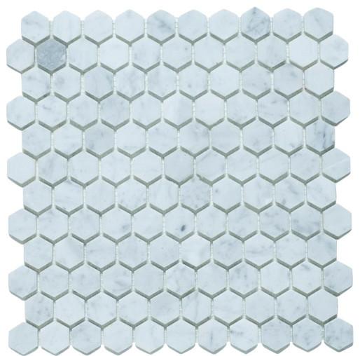 Hexagon 1 inch bianco carrara honed eclectic wall for 1 inch hexagon floor tiles