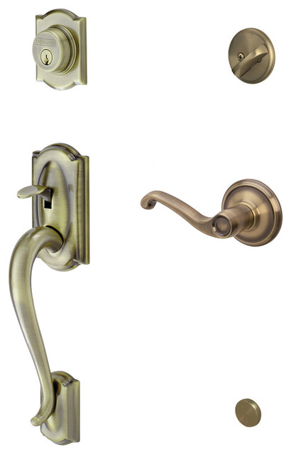 Schlage Camelot Handleset W Flair Interior Lever Rh In Antique Brass Modern Door Hardware