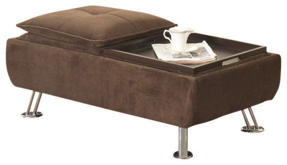 Brown Microfiber Ottoman Coffee Table Contemporary Footstools And Ottomans By All In One