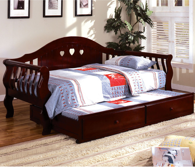 furniture of america tiffies 2 piece cherry daybed with