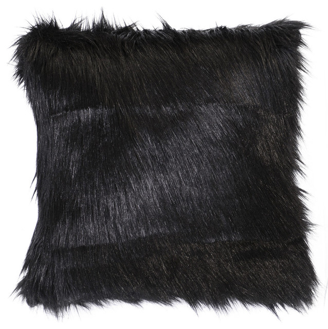 Black Fox Faux Fur, Euro - Rustic - Decorative Pillows - by Wooded River Inc