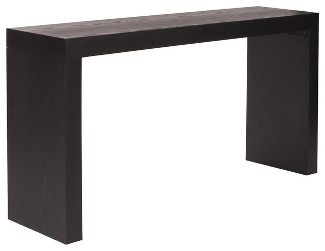 Jennifer black wood grain veneer console table kd