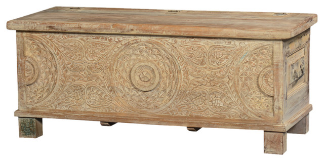 hand carved solid wood winter ferns storage chest coffee. Black Bedroom Furniture Sets. Home Design Ideas