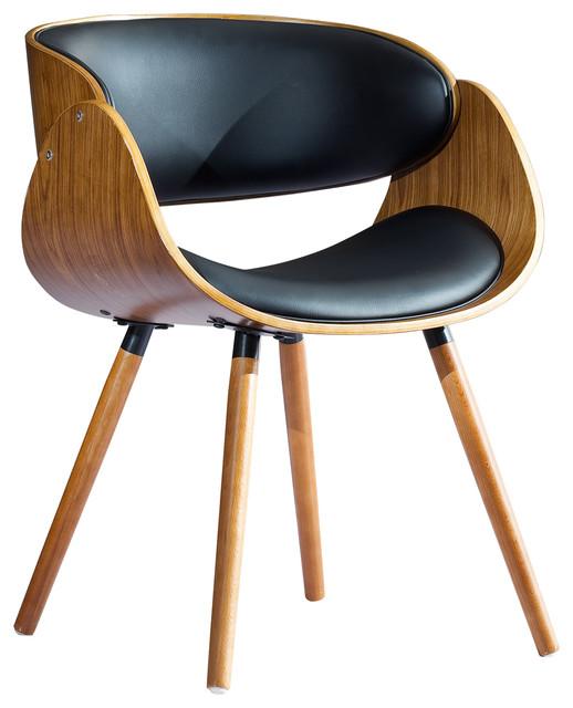 Walnut Bent Plywood Arm Chair With Black Pu Cushion