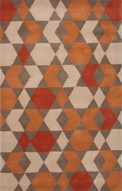 Jaipur Modern Geometric Pattern Wool Orange Brown 5x8