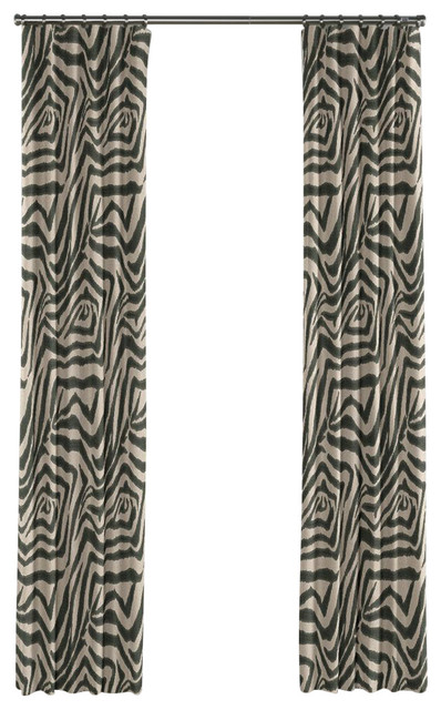 Taupe animal print zebra curtain single panel ring top for Animal print window treatments