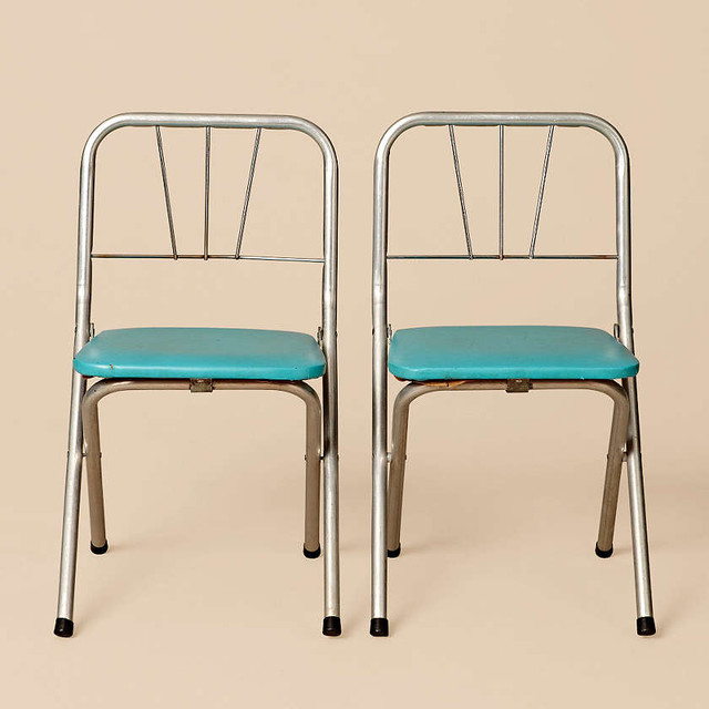 Set of small blue and aluminum chairs contemporary for Small blue armchair