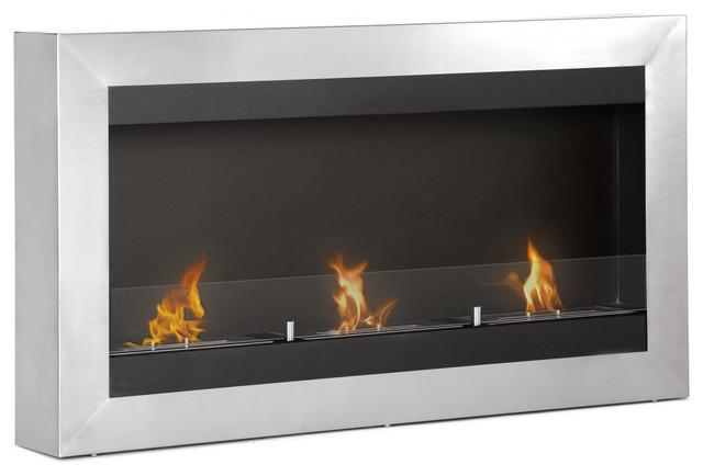 Magnum modern wall mounted ventless bio ethanol fireplace for Ventless modern fireplace