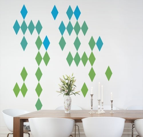 harlequin diamond blue and green wall decal contemporary wall decals
