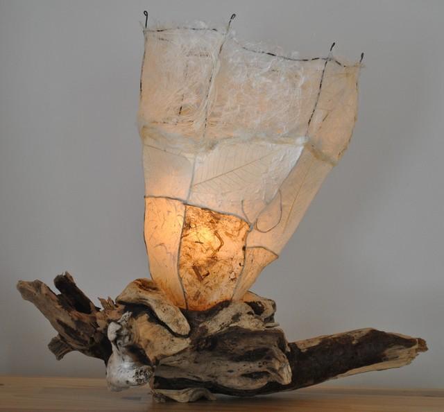 Driftwood table lamp lampe de bois de mer clectique lampe poser mo - Bois flotte montreal ...