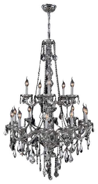 Venetian Italian 15 Light Crystal 2 Tier Chrome Finish Chandelier