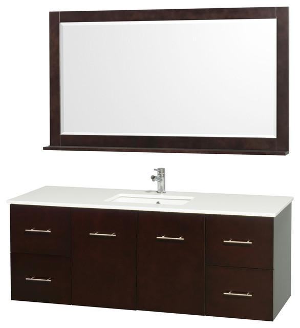 60 in bathroom vanity set in espresso contemporary for Bathroom consoles and vanities