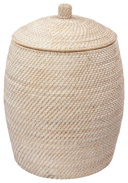 Laguna handwoven rattan beehive hamper with liner whitewash 19 x24 beach style hampers - Wicker beehive basket ...