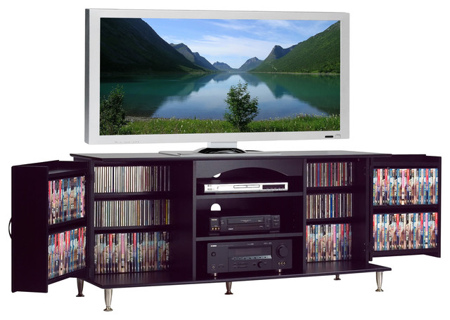 Prepac Premier Black Large Plasma TV Console with Media Storage - Traditional - Entertainment ...